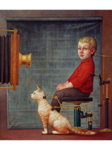 Boy with cat in front of camera obscura