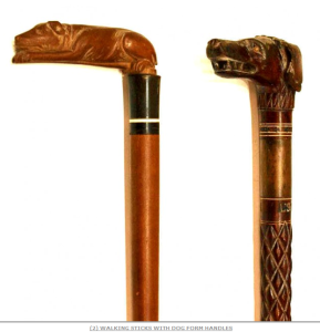 Walking sticks with dog form handle